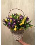 Корзинка с тюльпанами и ирисами