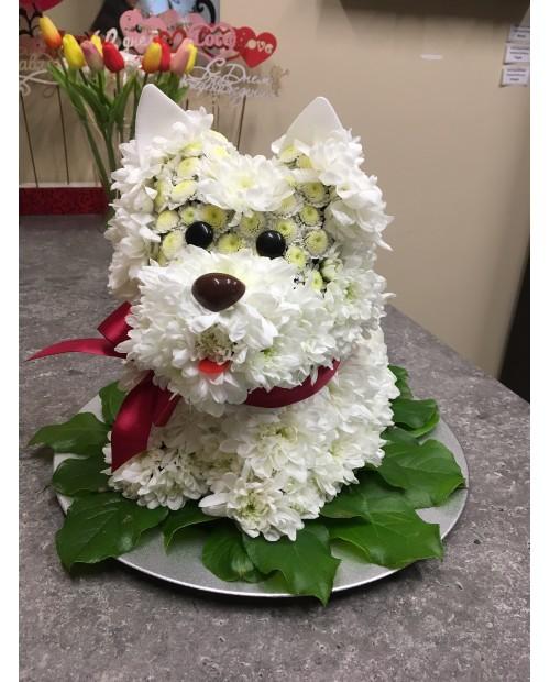 Собачка из цветов